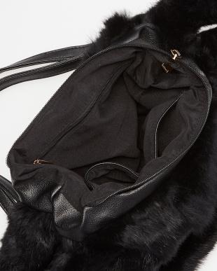 ブラック  ラビットファーハンドバッグ見る