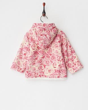 ピンク ローズ柄 裏ボアフーディジャケット見る