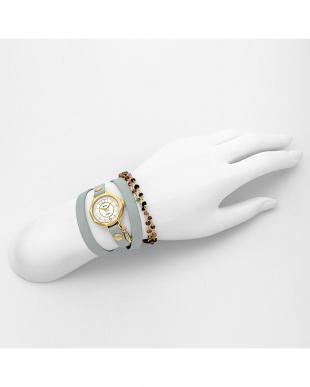 ホワイトフェイス カラフルストーンブレス付レザーベルト腕時計見る