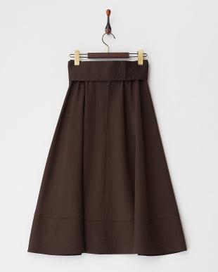 ブラウン  裾ステッチウェストリボンフレアスカート見る