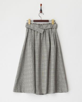 グレー ベルト付きグレンチェックフレアスカート見る