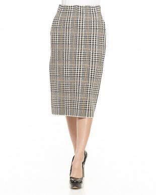 グレー系 ウール混グレンチェックタイトスカート見る