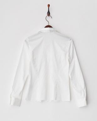 ホワイト  コットン×ポリエステル ギャザーストライプシャツ見る