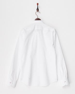 ホワイト ネクタイプリントシャツ見る