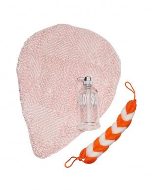ピンク S.D.S洗面雑貨3点セット(マイクロモールバスマット、泡立タオル、ボディソープボトル) 4000円相当!見る