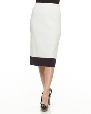 ホワイト バイカラースカート見る