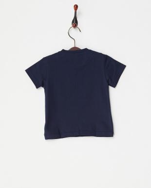 ネイビー  チェックパッチTシャツ|BABY見る