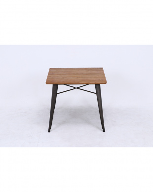 スチールテーブル ニレ材天板(80×80×70cm)見る