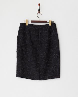 ネイビー  プリエファンシーツィードスカート見る
