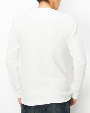 ホワイト  ワッフル クルーネックTシャツ見る