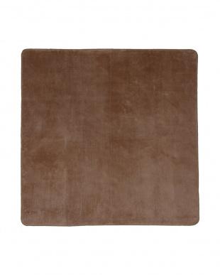 ベージュ  洗えるミンクタッチラグ 185×185cm見る