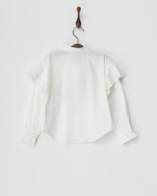 ホワイト 肩フリル刺繍ブラウス(130以下)見る