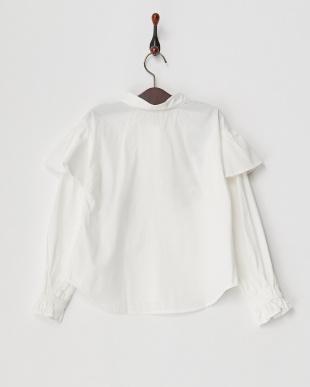 ホワイト 肩フリル刺繍ブラウス(140以上)見る