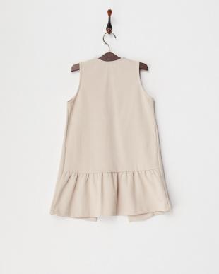 ライトピンク  カットソー裾フリルロングジレ(130以下)見る