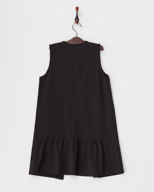 ブラック  カットソー裾フリルロングジレ(140以上)見る