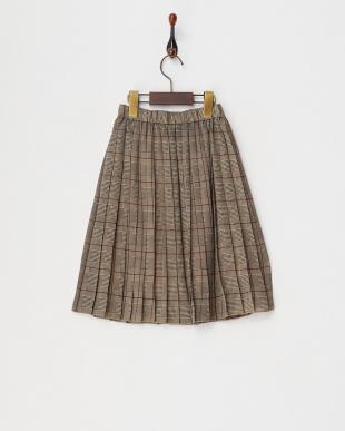 ブラック グレンチェックプリーツスカート(130以下)見る