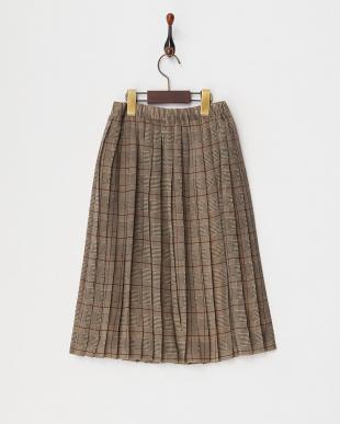 ブラック グレンチェックプリーツスカート(140以上)見る