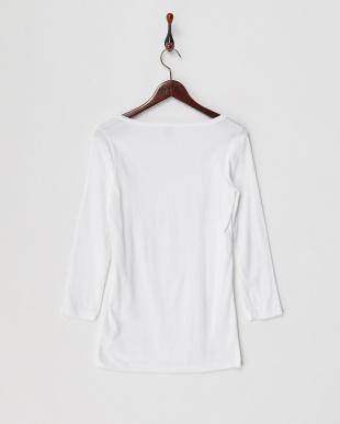 ホワイト  オーバルネック長袖Tシャツ見る