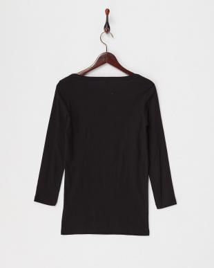 ブラック  オーバルネック長袖Tシャツ見る