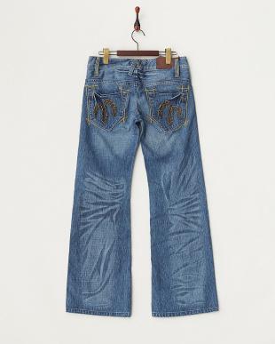 ブルー  バックデザインポケット 裾フレアデニムパンツ WOMEN見る