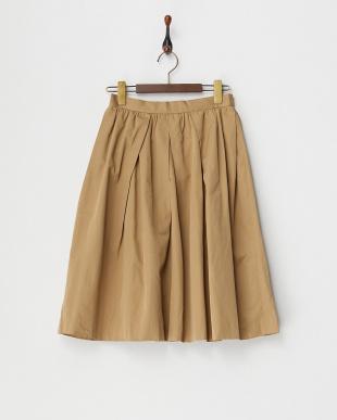 キャメル  ランダムタックフレアスカート見る
