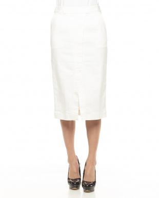 ホワイト ストレッチデニムフロントスリットタイトスカート見る