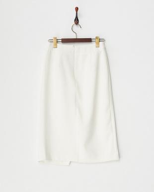 ホワイト フロントスリットタイトスカート見る