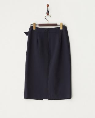 ネイビー  フロントスリットデザインタイトスカート見る
