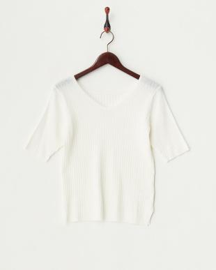 ホワイト  リブプルオーバー×羽織りカーディガン ニットアンサンブル見る