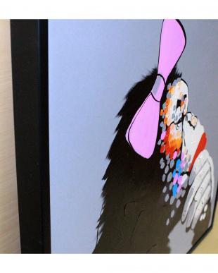 カラフルアニマルアートシリーズ サル リボン見る