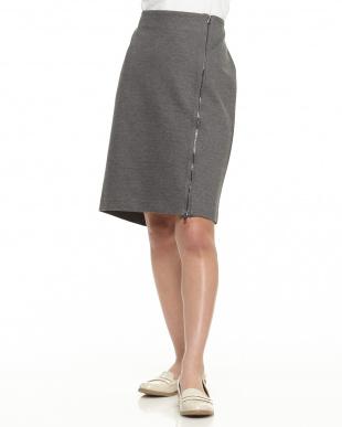 0RN IRON HEATHER ポンチ フロントジップスカート見る