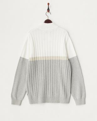 SAIL WHITE NS カラー切り替えモックネックセーター見る