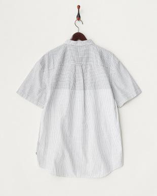BRIGHT WHITE 柄切り替え半袖シャツ見る