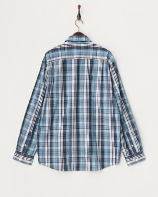 TIDE BLUE 18-4025 チェック柄長袖シャツ見る