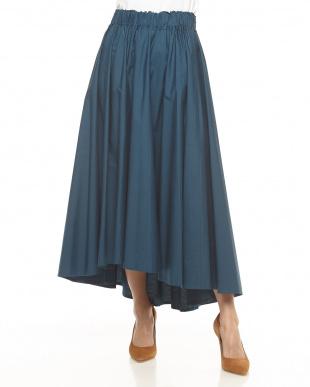 ブルー  コットンシルクギャザーフレアスカート見る