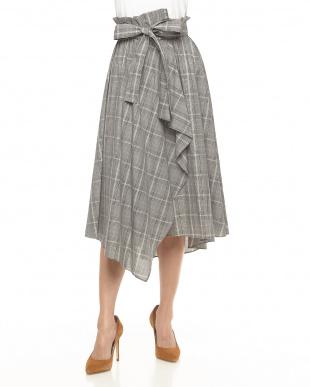 グレー フロントフリル リボン付きグレンチェック柄スカート見る