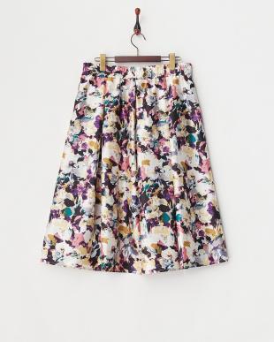 ピンク  シャンタンモザイク花柄スカート見る