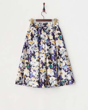 ブルー シャンタンモザイク花柄スカート見る