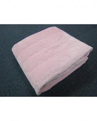 ピンク [シングル]羽毛敷きパッド 足入れポケット付見る