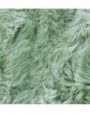 グリーン  ムートン長毛ロングシートクッション約35×105cm見る