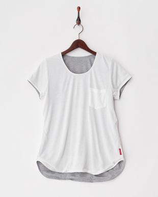 グレー×ホワイト グレー×ホワイト サウナクチュール フレアTシャツ見る