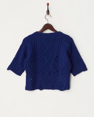 ブルー  ダメージ ケーブルニットクルーネックセーター見る