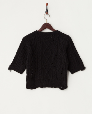 ブラック  ダメージ ケーブルニットクルーネックセーター見る