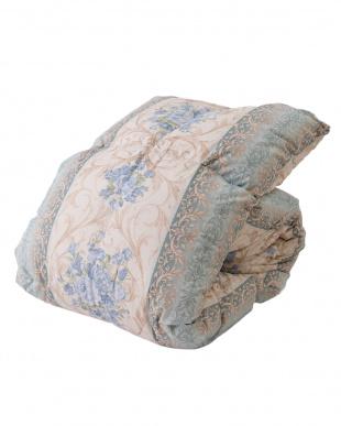 柄ブルー  国産羽毛布団 ロイヤルゴールドラベル ホワイトダウン93%(シングル)見る