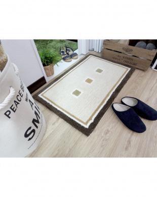 アイボリー 手洗い出来る玄関マット ドット 45×75cm見る