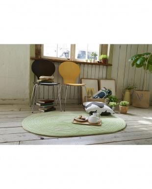 グリーン  洗えるチューブシェニールマット キャンディロープ 90×130cm見る