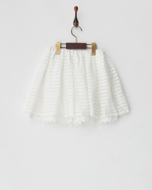 ホワイト シアーボーダーギャザースカート見る