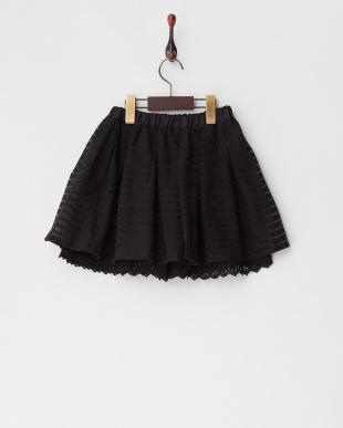 ブラック シアーボーダーギャザースカート見る