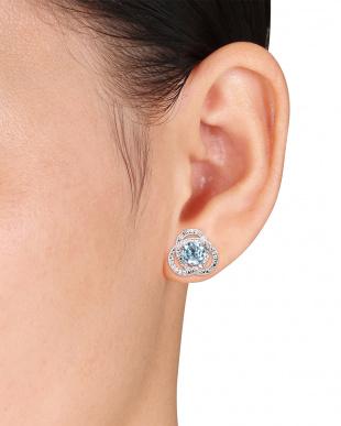 ダイヤモンド+ブルートパーズ クロスリング ピアス見る