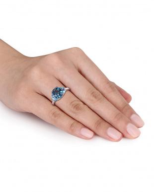 ダイヤモンド+ブルートパーズ&ロンドンブルートパーズ スリーストーン リング見る